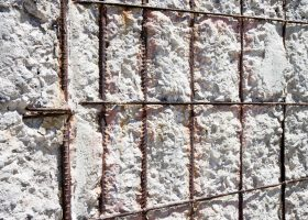 Damaged concrete caused by rusting reinforcement bars